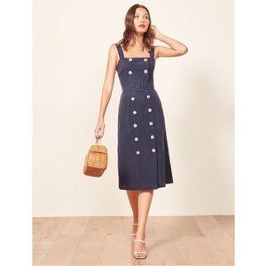 Reformation Palma Dress Blue Midi Button Front